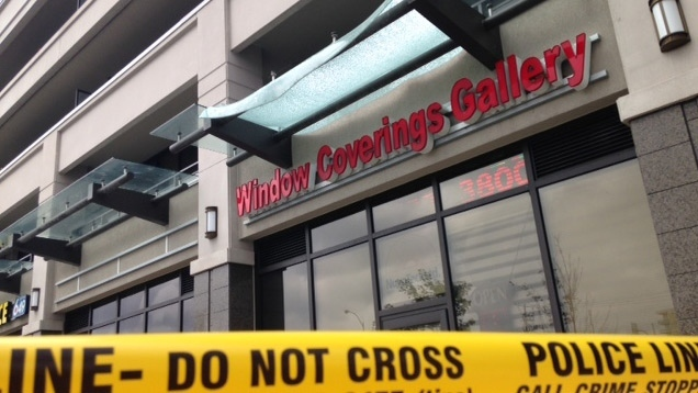 A damaged glass awning that a woman fell onto after dropping from a sixth floor balcony in North York early Thursday morning is shown. (CTV Toronto)