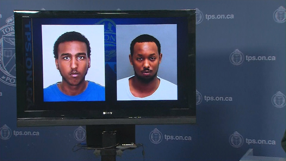 First-degree murder suspect Mohamud Abdwali Dirie (left) and Hassan Abdulle (right) pictured during a police news conference. (CP24)