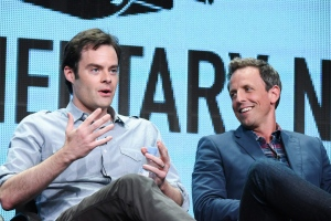 "Executive producer/actors Bill Hader, left, and Seth Meyers speak onstage during the ""Documentary Now!"" panel at the IFC 2015 Summer TCA Tour held at the Beverly Hilton Hotel on Friday, July 31, 2015, in Beverly Hills, Calif. (Photo by Richard Shotwell/Invision/AP)"