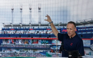 In this Thursday, Aug. 7, 2014, file photo, Cleveland Indians president Mark Shapiro points out the major renovations to right field at Progressive Field in Cleveland. Shapiro, who has been with Cleveland since 1992, will replace Paul Beeston, the Toronto Blue Jays CEO and president who is retiring. (AP Photo/Tony Dejak, File)