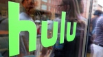 The Hulu logo seen on a window at the Milk Studios space in New York on Saturday, June 27, 2015 . (AP / Dan Goodman)