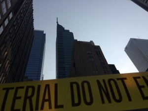 Police tape is shown near the Trump Tower on Monday as engineers inspect a swaying antenna on top of the building. (Jackie Crandles/CP24.com)