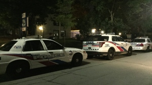 One person is in hospital after a stabbing near Keele and Bloor streets overnight. (Michael Nguyen/ CP24)
