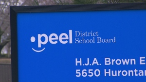 A Peel District School Board sign is shown in this undated photo.