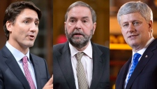Liberal Leader Justin Trudeau, NDP Leader Thomas Mulcair and Conservative Leader Stephen Harper are pictured in this combination image. (The Canadian Press)