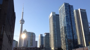 The CN Tower is pictured from downtown Toronto during sunrise. (Joshua Freeman /CP24)