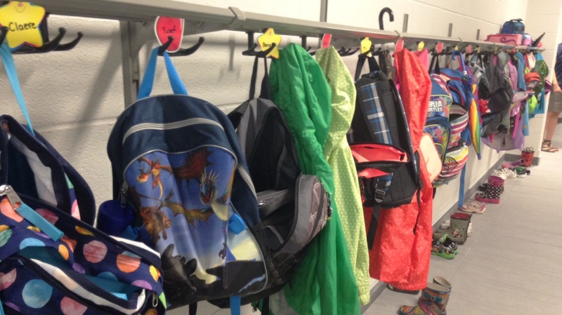 Backpacks line the hallway at Westmount Public School in Kitchener on Tuesday, Sept. 8, 2015. (Marc Venema / CTV Kitchener)