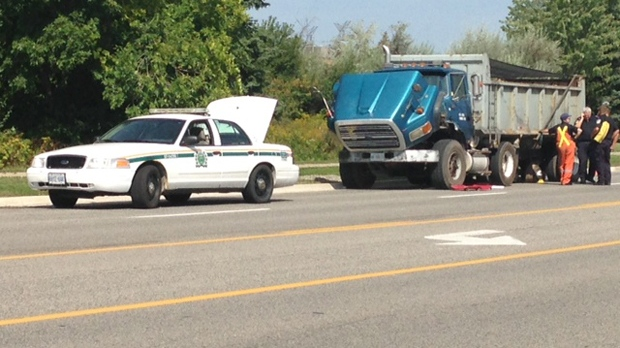 Woman struck by dump truck tire in Mississauga dies of injuries