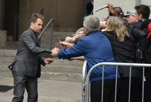 "Sam Rockwell, star of the Toronto International Film Festival-featured film ""Mr. Right,"" greets fans in Toronto on Sept. 19. (Mr. Will/MRWILLWONG.com)"