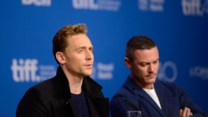 "Actors Tom Hiddleston (left) and Luke Evans look on during the press conference for ""High-Rise"" at the 2015 Toronto International Film Festival in Toronto, Monday, Sept, 14, 2015. THE CANADIAN PRESS/Marta Iwanek"
