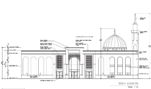 An architect's rendering of a mosque proposed along Winston Churchill Boulevard by the Meadowvale Islamic Centre.