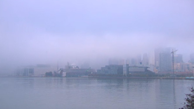 Fog is seen from the CTV News docks cam at Polson Pier in Toronto on Wednesday, Sept. 23, 2015.