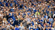 Toronto Blue Jays fans stand on their feet cheering as the Blue Jays play against the New York Yankees during seventh inning AL baseball action in Toronto on Wednesday, Sept. 23, 2015. (The Canadian Press/Nathan Denette)