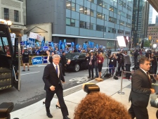Conservative Leader Stephen Harper arrives for a debate in Toronto on Monday, Sept. 28, 2015. (CP24/Courtney Heels)