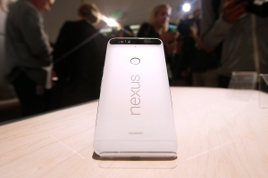 """The new Google Nexus 6P is on display during a Google event on Tuesday, Sept. 29, 2015, in San Francisco. Google is countering the release of Apple's latest iPhones with two devices running on """"Marshmallow,"""" a new version of Android software designed to steer and document even more of its users' lives. (AP Photo/Tony Avelar)"""