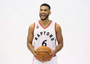Toronto Raptors' Cory Joseph laughs while posing during the Raptors' media day in Toronto on Monday, Sept. 28, 2015. (The Canadian Press/Darren Calabrese)