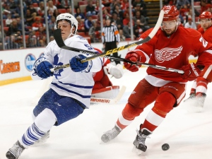 Toronto Maple Leafs defenseman Jake Gardiner (51) and Detroit Red Wings defenseman Mike Green (25) battle for the puck in the third period of an NHL preseason hockey game in Detroit Friday, Oct. 2, 2015. (AP Photo/Paul Sancya)