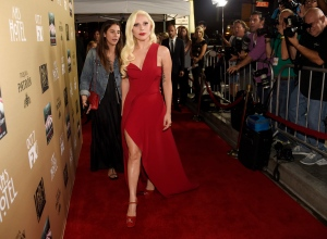 "Lady Gaga arrives at the Los Angeles premiere screening of ""American Horror Story: Hotel"" at Regal Cinemas L.A. Live on Saturday, Oct. 3, 2015. (Photo by Chris Pizzello/Invision/AP)"