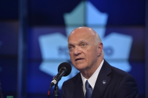 Lou Lamoriello attends a news conference to announce that he has been named the new general manager of the Toronto Maple Leafs, in Toronto, Thursday, July 23, 2015. (The Canadian Press/Galit Rodan)