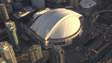 Extended: Aerial view of Rogers Centre on game day