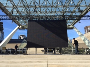 A large screen that will show Blue Jays playoff games is shown being installed in Nathan Phillips Square on Thursday morning. (CP24.com/Rena Heer)