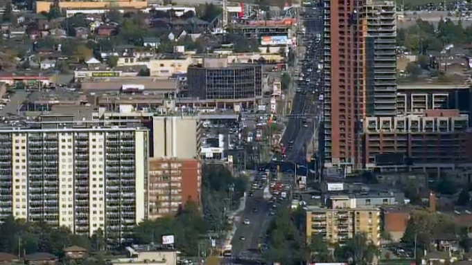Dufferin Street is seen from the CTV News chopper over Toronto on Thursday, Oct. 8, 2015.