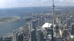The Toronto skyline is seen from the CTV News chopper on Thursday, Oct. 8, 2015.