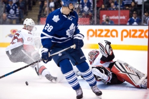 Toronto Maple Leafs' Brad Boyes watches his shot on goal against the Ottawa Senators get blocked by Senators' goalkeeper Craig Anderson during extra time NHL hockey action in Toronto on Saturday, Oct. 10, 2015. THE CANADIAN PRESS/Frank Gunn