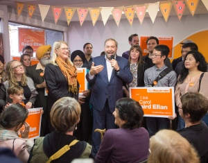 NDP leader Tom Mulcair speaks to supporters at a campaign rally Saturday, October 17, 2015 in Burnaby, B.C. Canadians will vote in the federal election on Oct, 19. THE CANADIAN PRESS/Ryan Remiorz