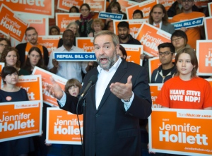 NDP leader Tom Mulcair speaks to supporters as he arrives at a campaign rally Sunday, October 18, 2015 in Toronto ,ON.. Canadians will vote in the federal election on Oct, 19th.THE CANADIAN PRESS/Ryan Remiorz