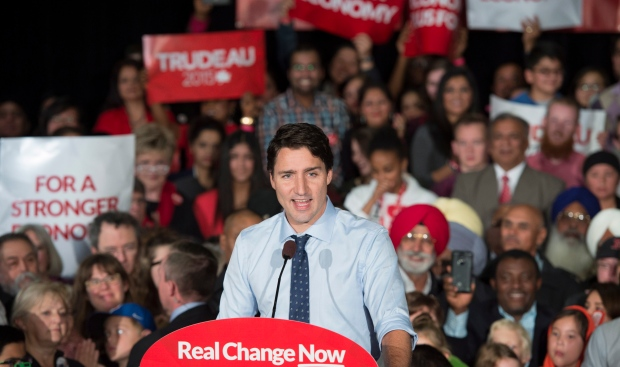 Liberal leader Justin Trudeau addresses supporters during a rally, Sunday, Oct. 18, 2015 in Edmonton. (The Canadian Press/Paul Chiasson)