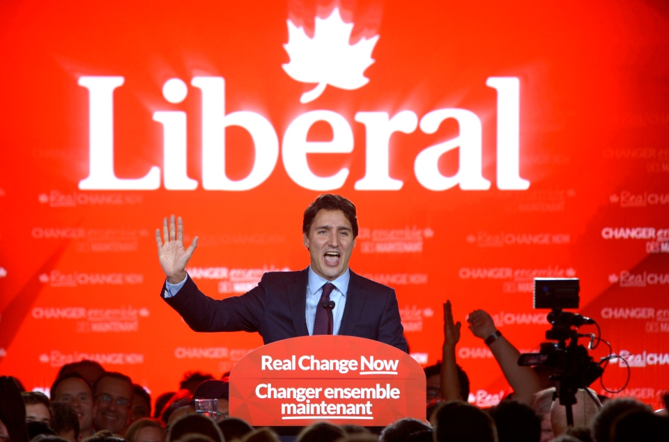Liberal leader and incoming prime minister Justin Trudeau speaks to supporters at Liberal party headquarters in Montreal early Tuesday, Oct. 20, 2015. THE CANADIAN PRESS/Paul Chiasson