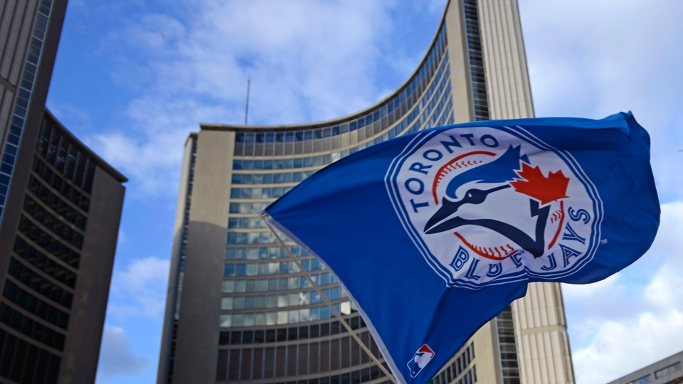 Dale Ribeiro waves the Toronto Blue Jays flag as he watches the game on a screen at Nathan Phillips Square on Wednesday, October 14, 2015. (Marta Iwanek / THE CANADIAN PRESS)
