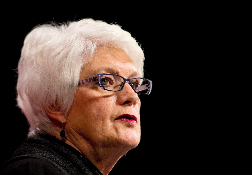 Minister of Education Liz Sandals talks during a press conference at Queen's Park in Toronto on Thursday, Jan. 15, 2015. (The Canadian Press/Nathan Denette)