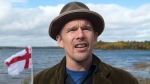 Actor Ethan Hawke, an area property owner, attends the Mi'kmaq community's water ceremony on the shores of Pomquet Harbour to support the aboriginal call for a moratorium on oil and gas exploration in the Gulf of St. Lawrence, near Antigonish, N.S. on Monday, October 26, 2015.