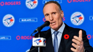 Toronto Blue Jays new president and chief executive officer Mark Shapiro holds a news conference in Toronto on Monday, Nov.2, 2015. (Nathan Denette / THE CANADIAN PRESS)