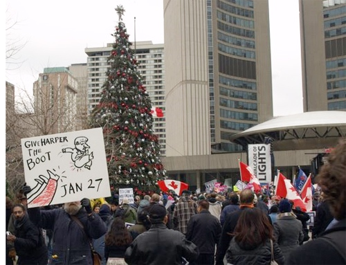 About 500 people attended the rally held outside City Hall at Nathan Phillips Square.