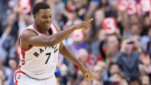 Toronto Raptors guard Kyle Lowry (7) reacts after sinking a three against the New Orleans Pelicans during second half NBA basketball action in Toronto on Friday, Nov. 13, 2015. (The Canadian Press/Nathan Denette)
