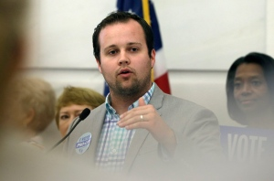 In this Aug. 29, 2014, file photo, Josh Duggar speaks in favor the Pain-Capable Unborn Child Protection Act at the Arkansas state Capitol in Little Rock, Ark. (AP Photo/Danny Johnston)