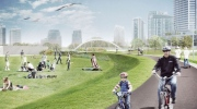This artist's rendering shows the design for the new Fort York Pedestrian and Cycle bridge. (City of Toronto)