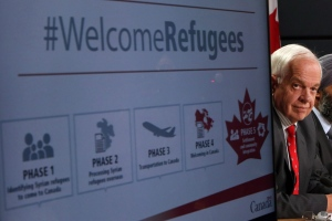 John McCallum, minister of immigration, refugees and citizenship, announces Canada's plan to resettle 25,000 Syrian refugees, during a press conference at the National Press Theatre in Ottawa on Tuesday, Nov. 24, 2015. (The Canadian Press/Fred Chartrand)