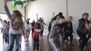 "Jade Jager Clark (left) performs Missy Elliott's ""Where They From"" with her students in a video uploaded to YouTube last month. Eight of Clark's students performed for an episode of the Ellen DeGeneres Show."