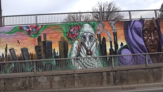 Lawrence underpass mural