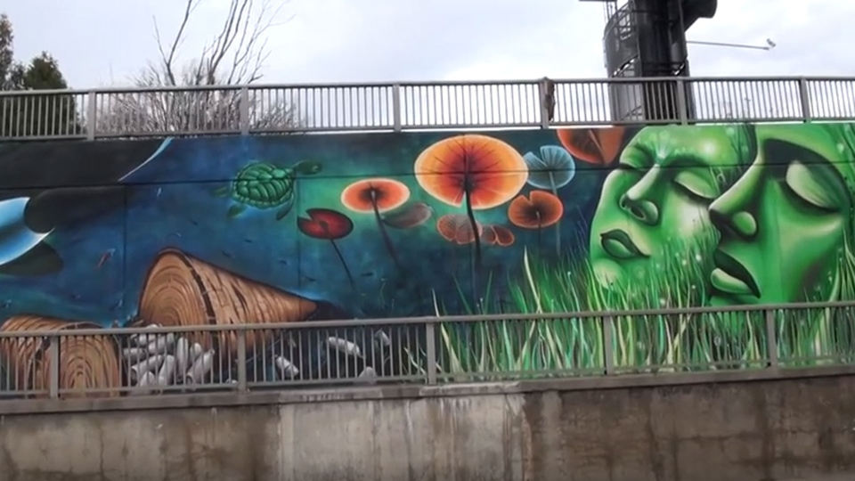 A portion of a mural at the Lawrence underpass near Caledonia Road is pictured. (YouTube)