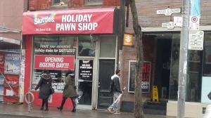 A Skittles pop-up holiday pawn shop will be opening on Boxing Day on Queen Street West in Toronto. (Codi Wilson/ CP24)