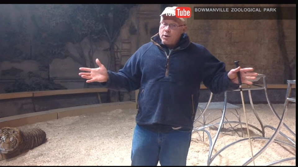Michael Hackenberger, director at the Bowmanville Zoo, is seen in a YouTube video on Dec. 21, 2015.