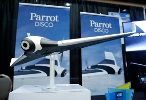 The Parrot Disco prototype drone is on display at CES Unveiled, a media preview event for CES International, Monday, Jan. 4, 2016, in Las Vegas. The Disco is a fixed-wing drone with a fish-eye camera that can fly for about 45 minutes and is launched by tossing it into the air. (AP Photo/John Locher)