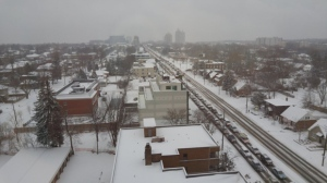 Cars wait along Sheppard Avenue on Jan. 12, 2015