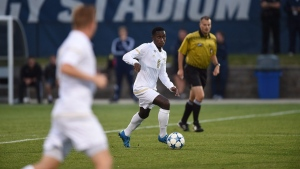 University of Akron's Richie Laryea moves the ball during play against Saint Louis University in Akron, Ohio, on Sept. 11, 2015, in this handout photo. (University of Akron / Jeff Harwell / The Canadian Press)