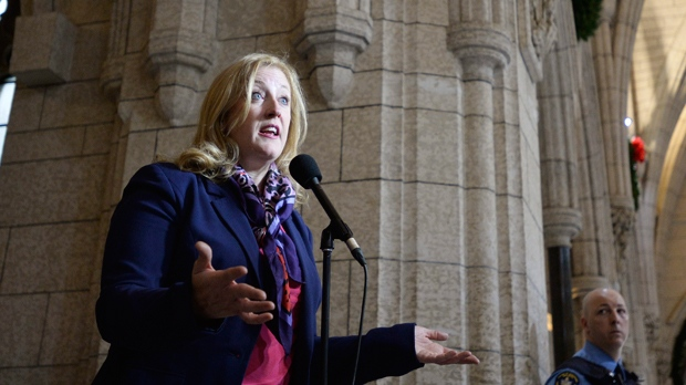 Conservative MP Lisa Raitt talks with media in Ottawa on Wednesday, Dec. 9, 2015. THE CANADIAN PRESS IMAGES/Matthew Usherwood